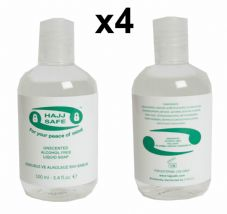 Hajj Umrah - Pack 4 Unscented Liquid Soap- Hand, Body Wash, Shampoo - No Alcohol